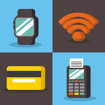 Set of payment with nfc icons contactless technology concept