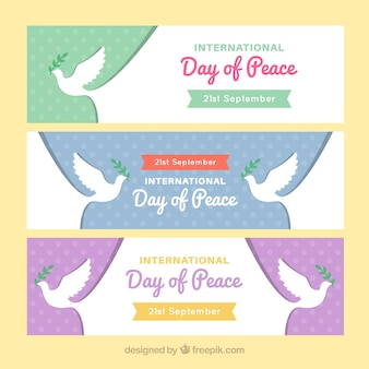 Set of peace day dove banners