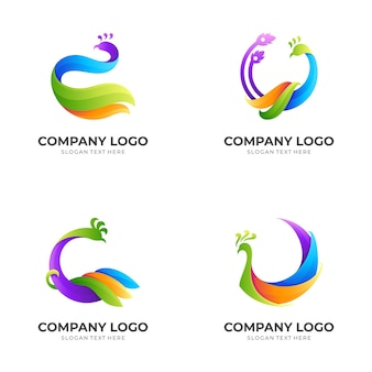Set peacock logo template with  colorful style