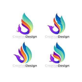 カラフルなデザイン、3dスタイルで孔雀のロゴを設定します