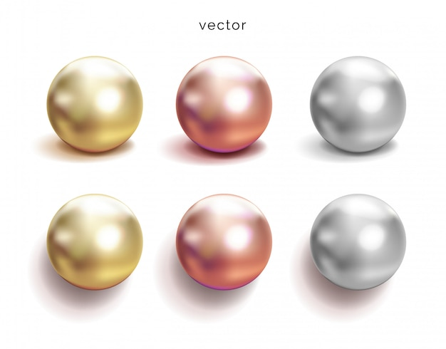 Set of pearl silver, pink or rose gold and gold spheres with glares icons  on white background,  illustration.