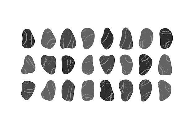 Set of pebble stones isolated on white background.