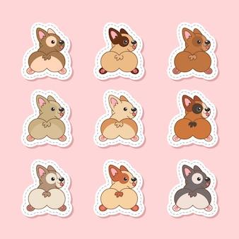 Set of pembroke welsh corgi cute dogs stickers vector illustration in pink background