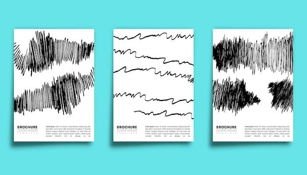 Set of pen stroke design background for banner, flyer, poster, brochure cover or other printing products. vector illustration.