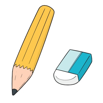 Set of pencil and eraser
