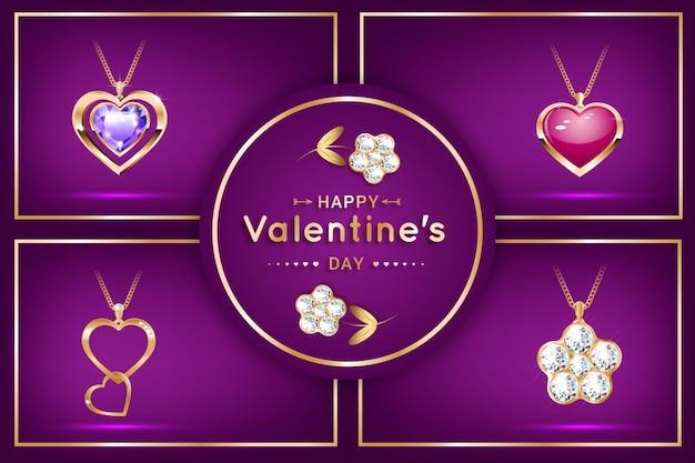 다이아몬드가 세팅 된 하트 모양의 펜던트. 비싼 보석, 목걸이. 발렌타인 데이