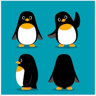 Set of penguin characters in different action poses