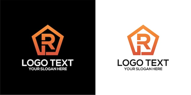 Set of pentagon logo combined with letter r designs template premium vector
