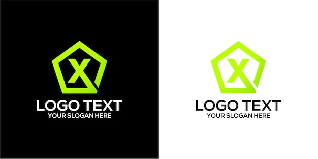 Set of pentagon logo combined with letter x designs template premium vector