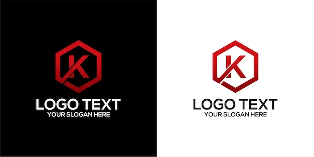 Set of pentagon logo combined with letter x and k designs template premium vector