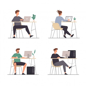 Set of people activities sitting down with their laptops and computers