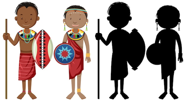 Set of people of african tribes character with its silhouette