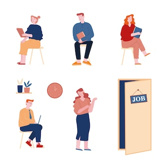 Set of people applicants wait job interview