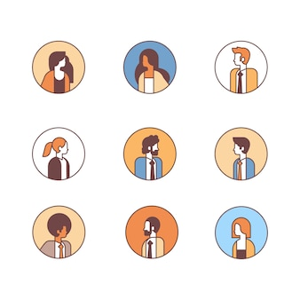 Set people avatar profile business man woman office workers concept female male cartoon character portrait collection line isolated