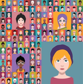 Set of people avatars in flat style with faces. vector women, men character