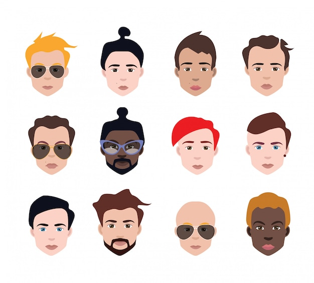 Set of people avatars in flat style
