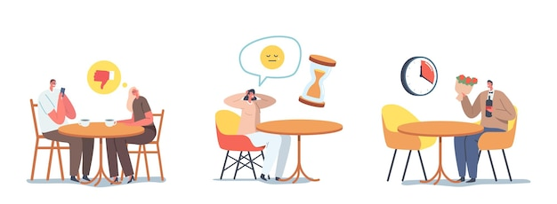 Установите людей плохие даты концепции. мужчина игнорирует женщину в кафе для разговора со смартфоном, девушка осталась одна в ресторане, взволнованный мужской персонаж с букетом, долго ждущим подругой. векторные иллюстрации шаржа