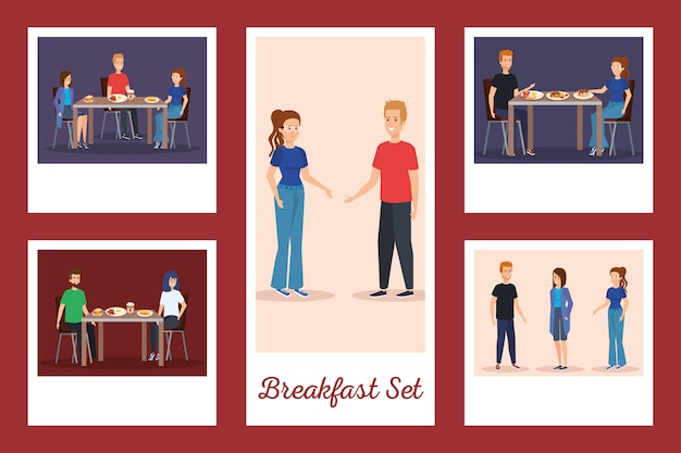 Set of people in the breakfast