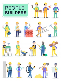 Set of people builders workers.
