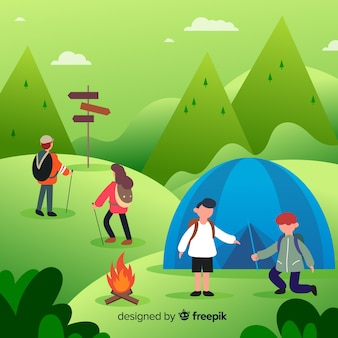 Set of people camping flat design