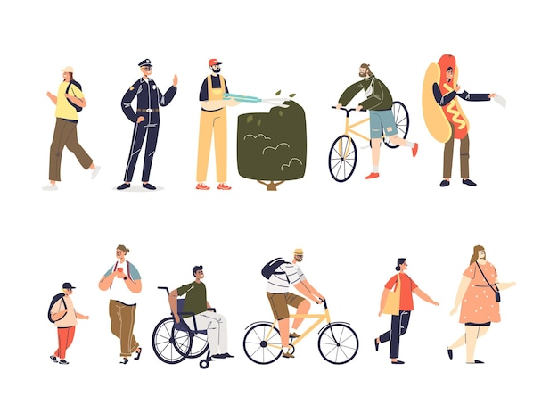 Set of people cartoon characters: adult and kids. on bicycle, pedestrians, on wheelchair, workers in uniform: policeman, promoter, gardener isolated icons collection. flat vector illustration