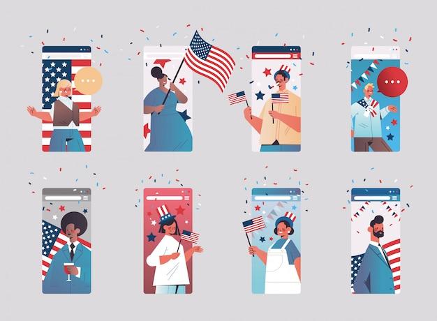 Набор людей, празднующих 4 июля, день независимости сша, концепция смешанной гонки, люди, имеющие виртуальное веселье, коллекция экранов смартфонов, горизонтальная портретная иллюстрация