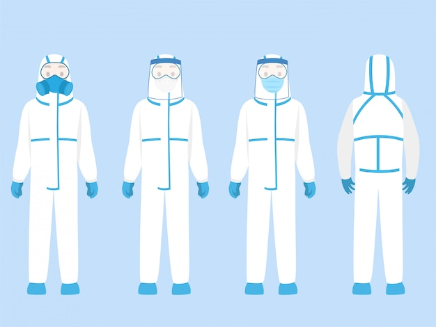 Set of people character wearing in ppe personal protective suit clothing