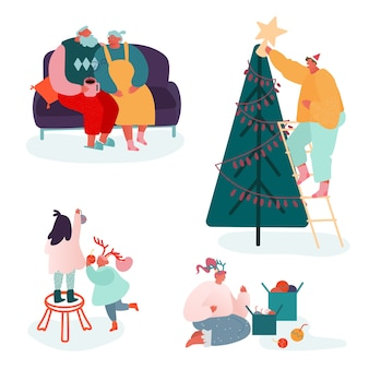 Set of people characters celebrating merry christmas season and winter new year. family parents and children decorating xmas tree, sing carols, packing presents at fireplace scene.