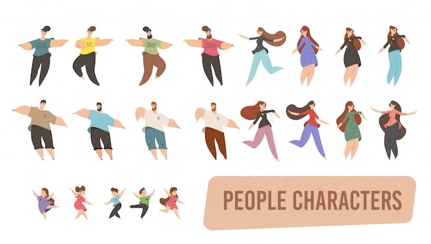 Set of people characters isolated on white clipart