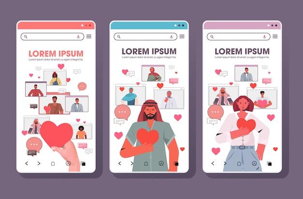 Набор людей в чате в приложении онлайн знакомств социальные отношения общение концепция смартфон экраны коллекция копирование пространство горизонтальный иллюстрация