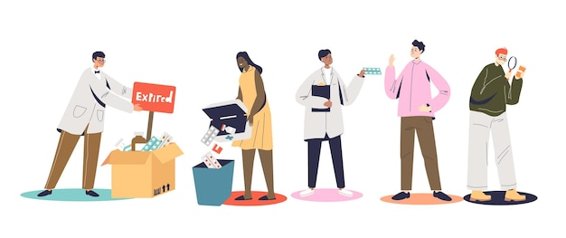Set of people checking and throwing expired medicines, pills and drugs. cartoon characters examining out of date medical treatment. flat vector illustration