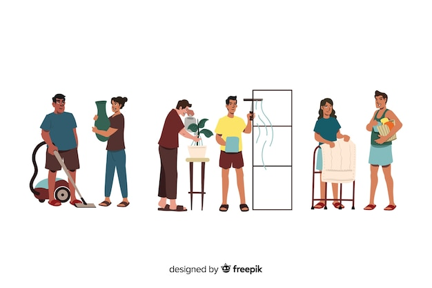 Set of people cleaning their home illustrated