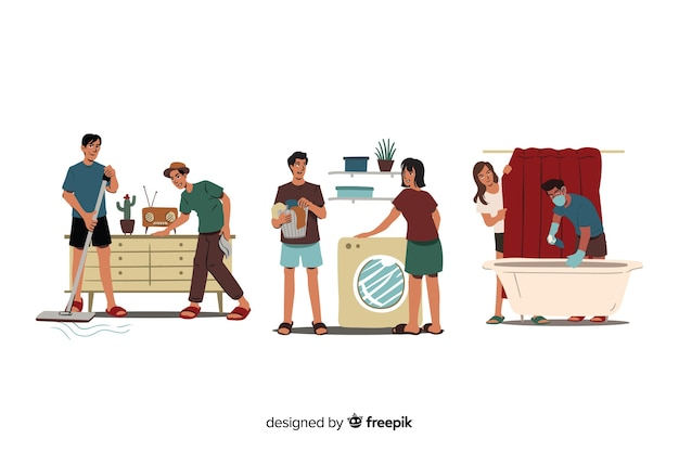 Set of people cleaning their home
