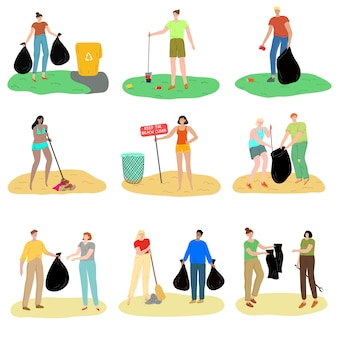 Set of people collecting garbage in public places vector illustration