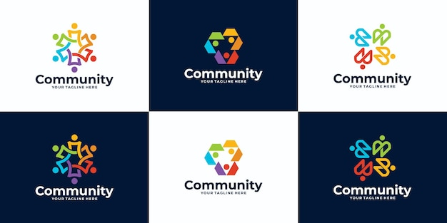 Set of people and community logo design for teams or groups