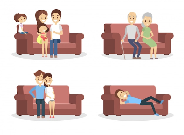 Set of people on the couch. funny characters sitting on the comfortable sofa. relaxation and leusire activities.    illustration