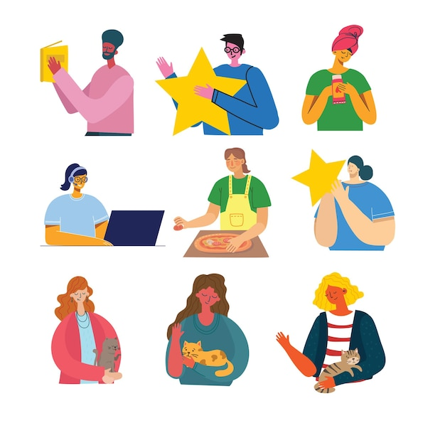 Set of people in different action illustration set