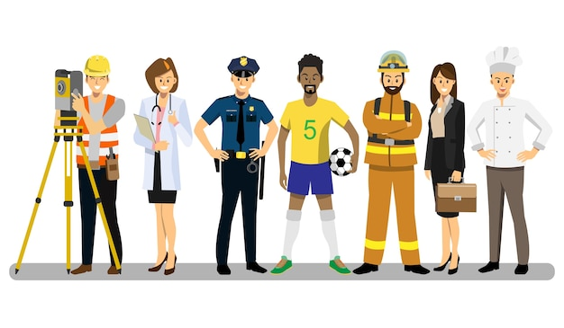 Set of people of different career characters design.