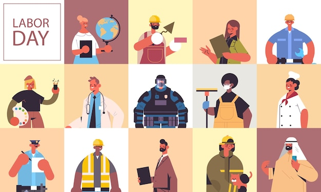 Set people of different occupations celebrating labor day