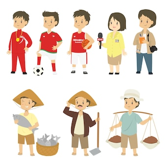 Set of people in different profession vector