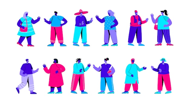 Set of people of different race, ethnicity, nationality flat blue people character