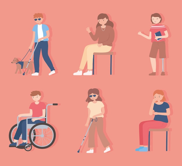 Set of people disable, blind, walking and sitting characters  cartoon illustration