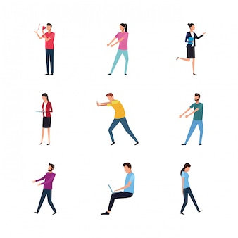 Set of people doing actions