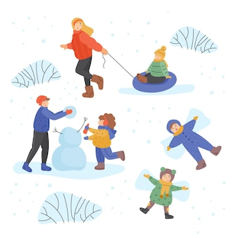 Set of people doing different winter activities