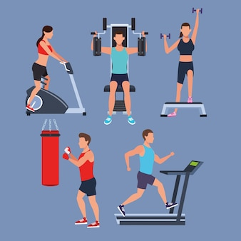 Set people doing exercise