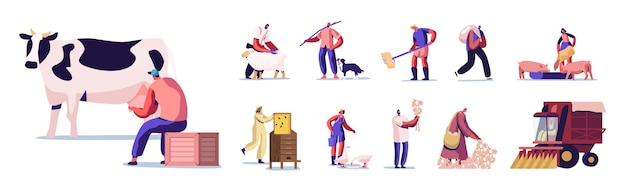 Set of people doing farming job as feeding domestic animals, milking cow, shearing sheep, prepare hay for livestock. male and female farmer characters working with cattle. cartoon vector illustration