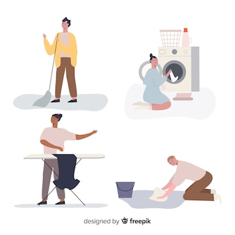 Set of people doing housework