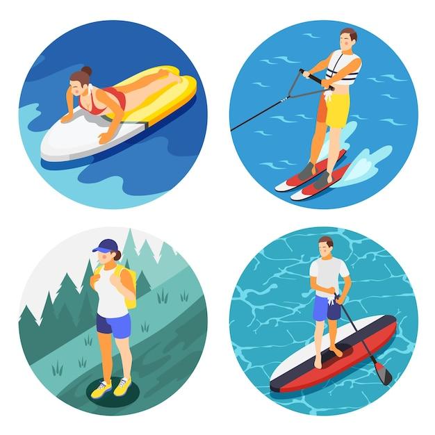 Set of people doing outdoor activities