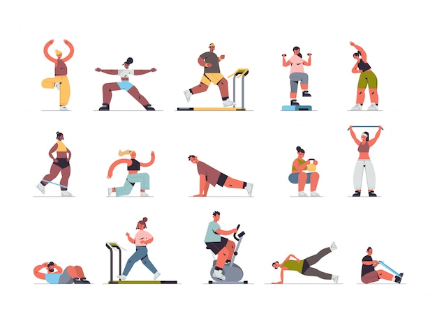 운동 심장 피트니스 훈련 건강 한 라이프 스타일 홈 스포츠 개념 전체 길이 가로 그림 데 물리 운동 믹스 경주 남자 여자를하는 사람들을 설정