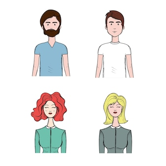 Set people face with hairstyle and expression